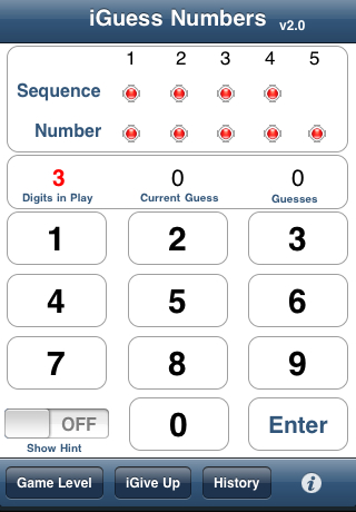Screenshot iGuess Numbers